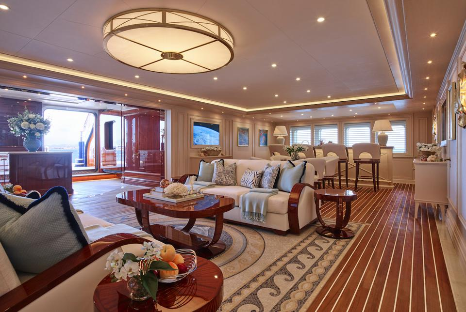 The beach club aboard TIS is massave and sophisticated.