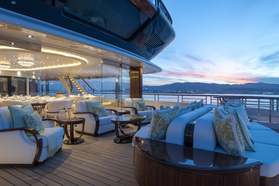 Exclusive photos of the owners deck aboard the 365-foot-long superyacht, TIS.