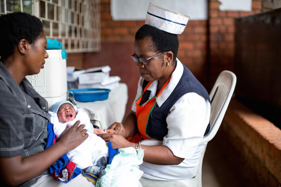 An infant is vaccinated at a UNICEF-supported clinic in Lusaka, Zambia.