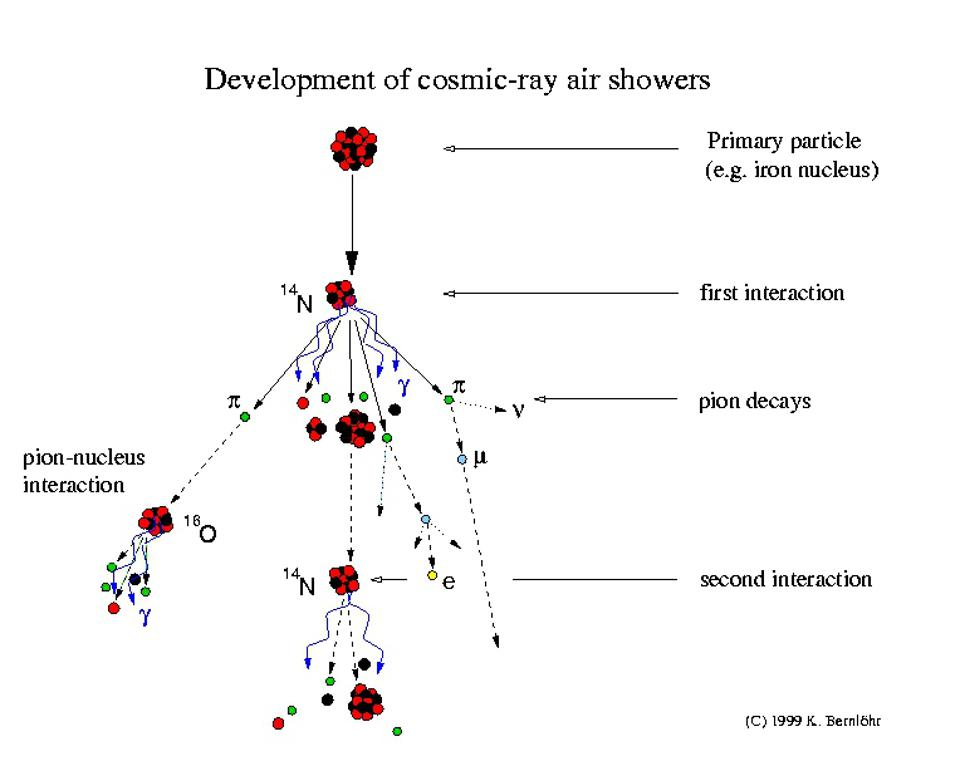 Cosmic ray shower and some of the possible interactions.