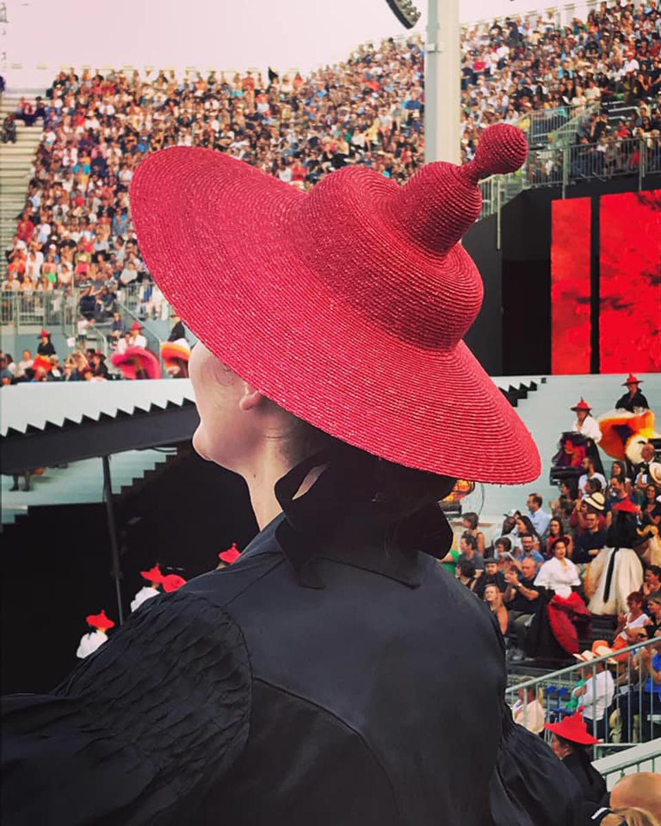 The traditional vintner's hat worn by a performer at the Fête des Vignerons in Vevey, Switzerland,