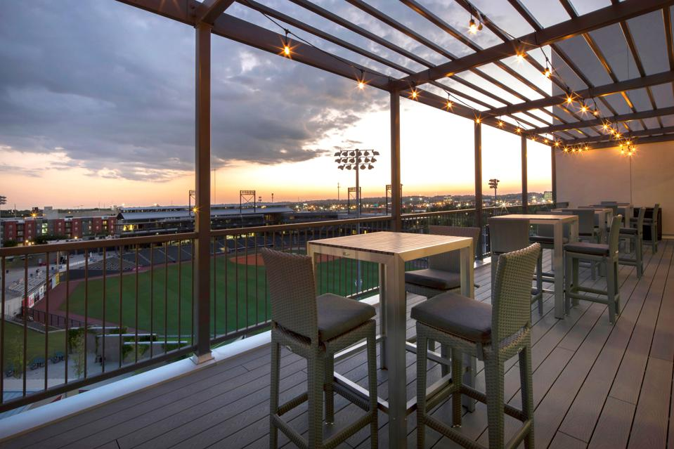Students' outdoor room has priceless stadium view.