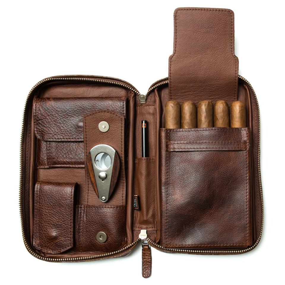 Peter James Leather Company Castano Aficionado Cigar Case