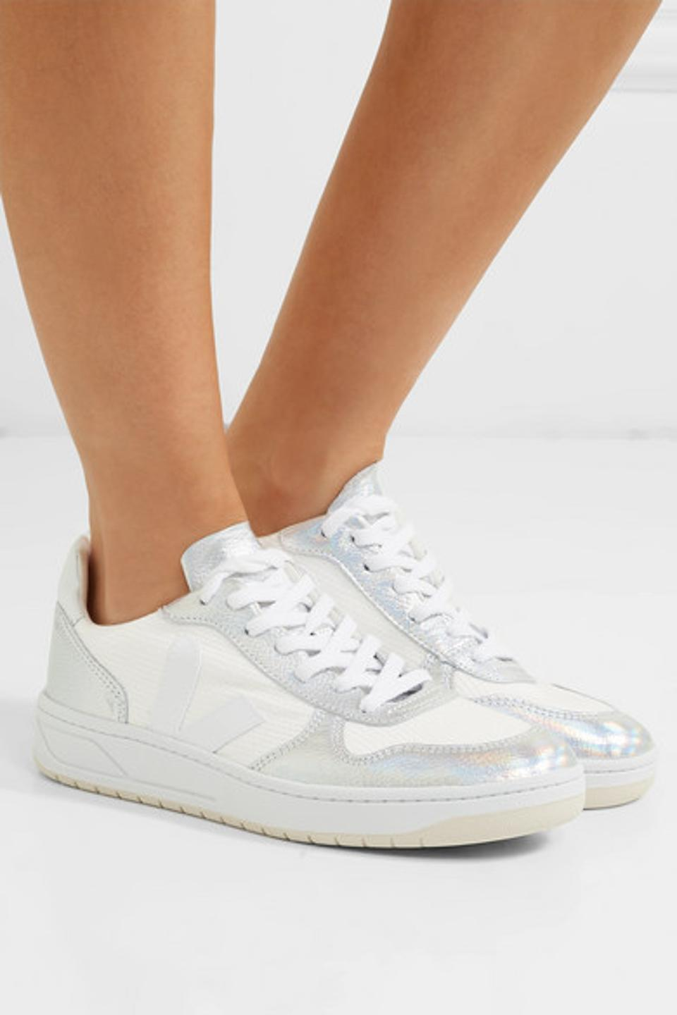 Veja V-10 Iridescent Metallic Leather and Canvas Sneakers