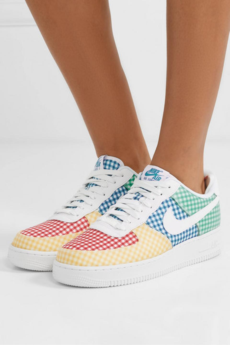 Nike Air Force 1 Leather and PVC-Trimmed Gingham Canvas Sneakers