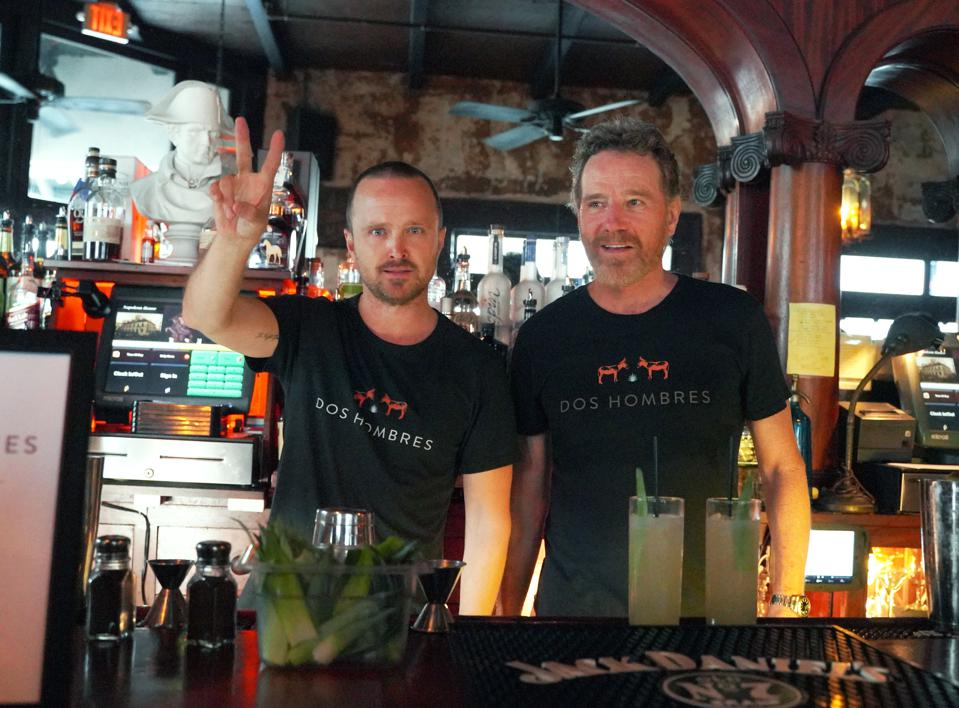 Aaron Paul and Bryan Cranston at the launch of their new mezcal, Dos Hombres.
