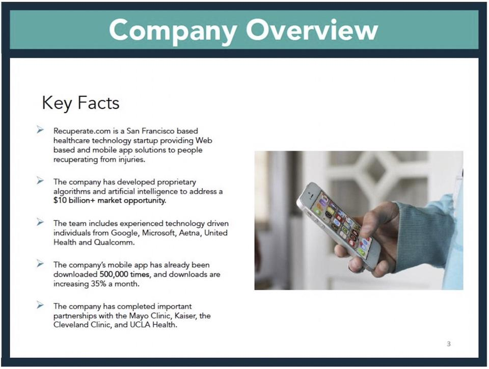 recuperate company overview slide