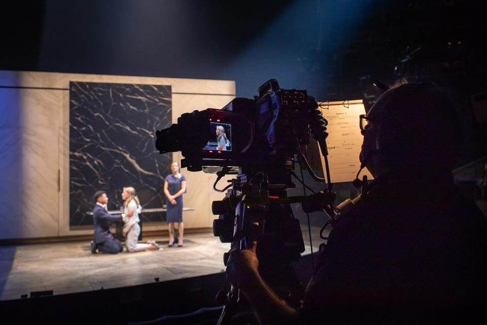 Crew members filming 'Antony and Cleopatra' at the National Theatre (Photo Credit: Helen Maybanks)