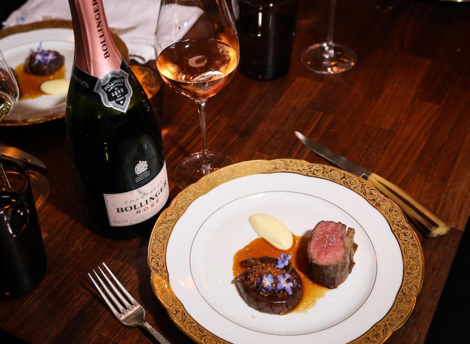 lamb, Champagne Bollinger, bollinger, champagne, maude la, maude restaurant, Rosé, bottle