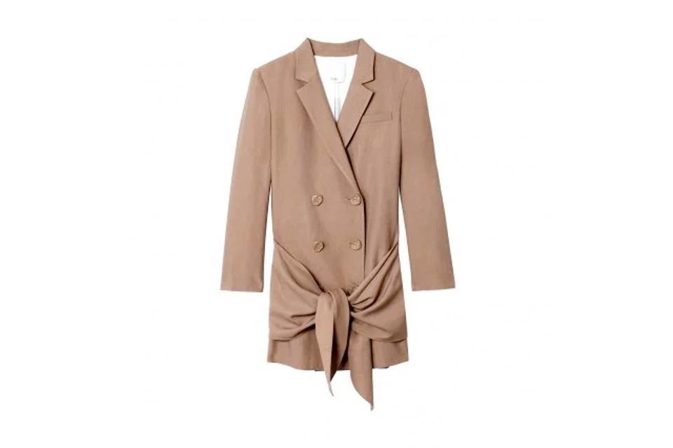 Tibi Linen Viscose Blazer Dress with Removable Tie