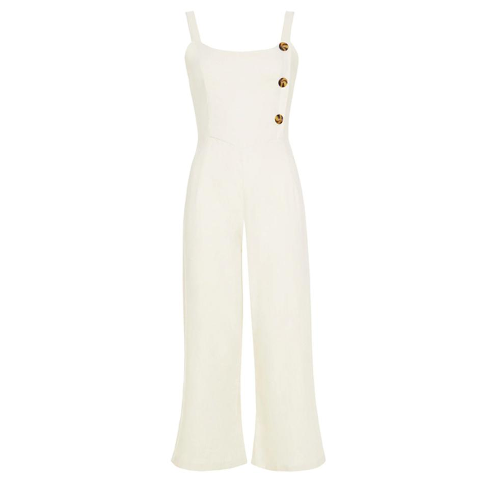 Faithfull The Brand Plain Cream Linen Sainte Marie Jumpsuit