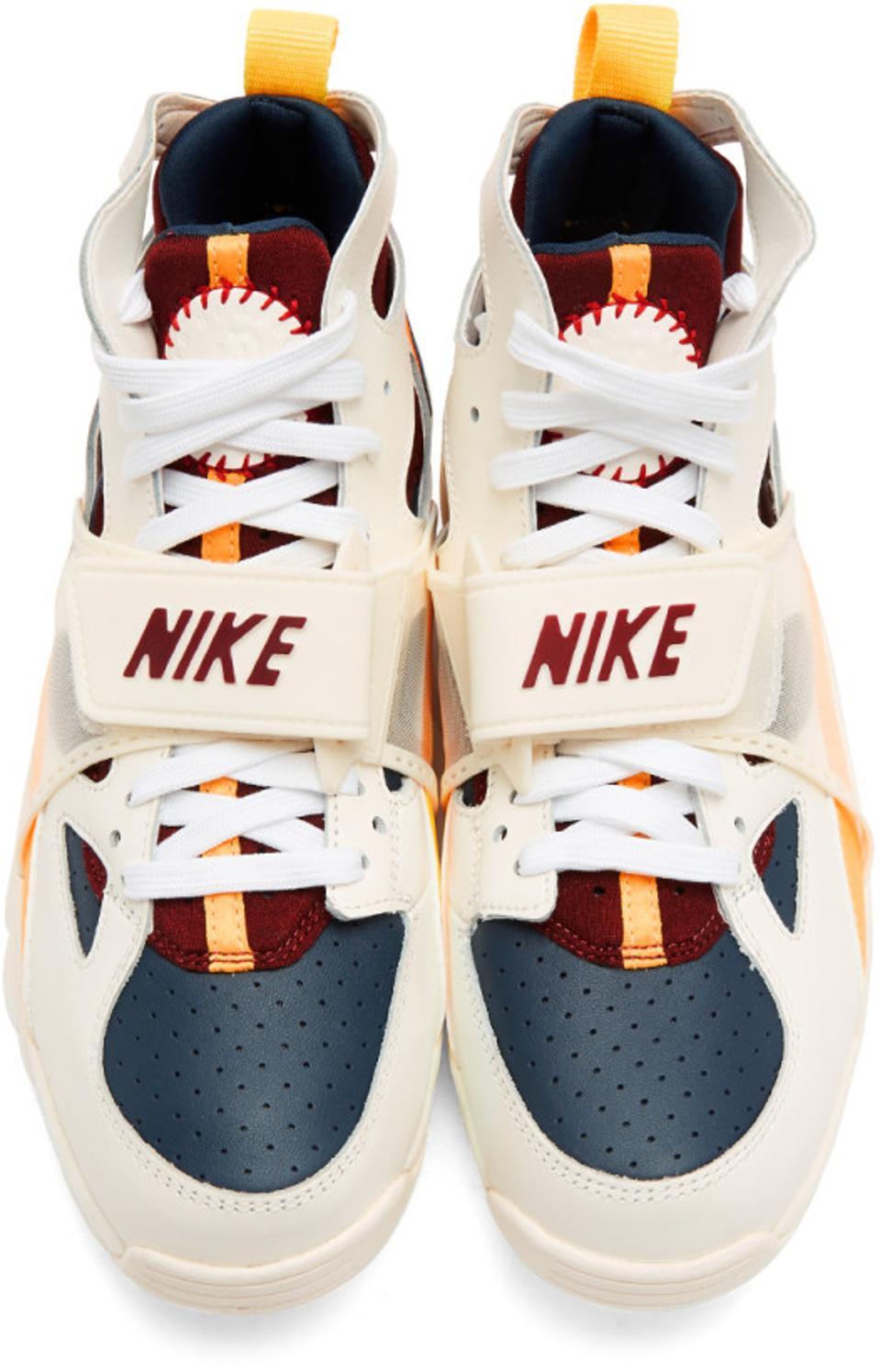 Nike White & Orange Air Trainer Huarache QS Sneakers