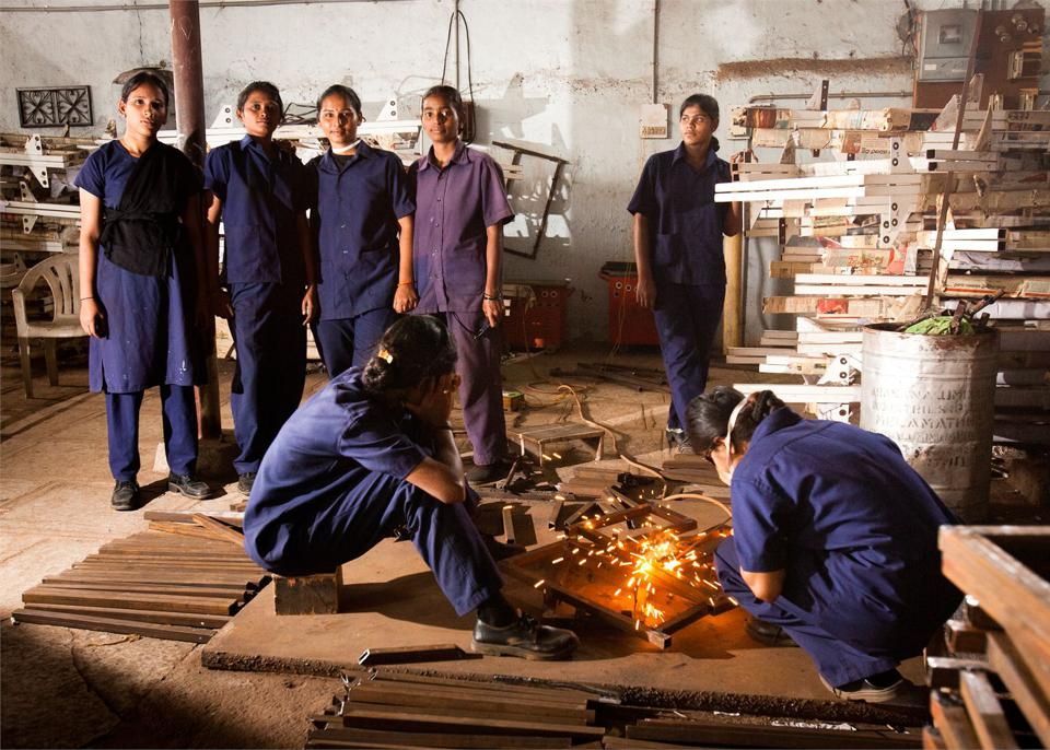 Women in Prajwala are given skills training to become employable upon leaving the refuge.