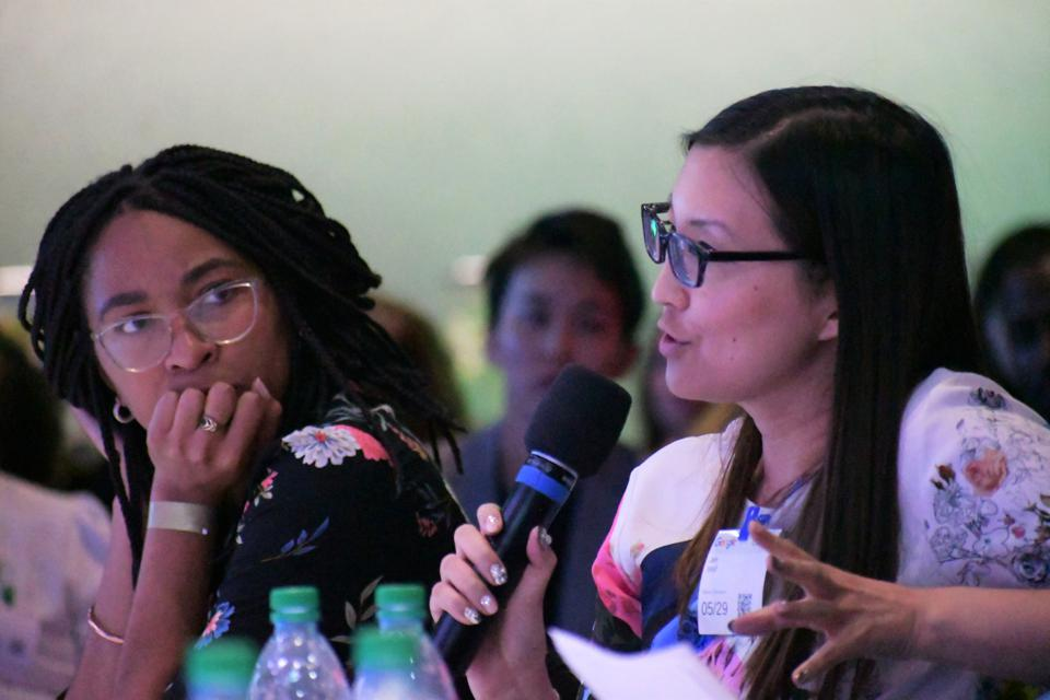 Judges Nashilu Mouen-Makoua and Jen Wolf at the Women Startup Challenge, held in partnership with Craig Newmark, founder of craigslist and Craig Newmark Philanthropies, was held at Google in New York City on May 29, 2019.