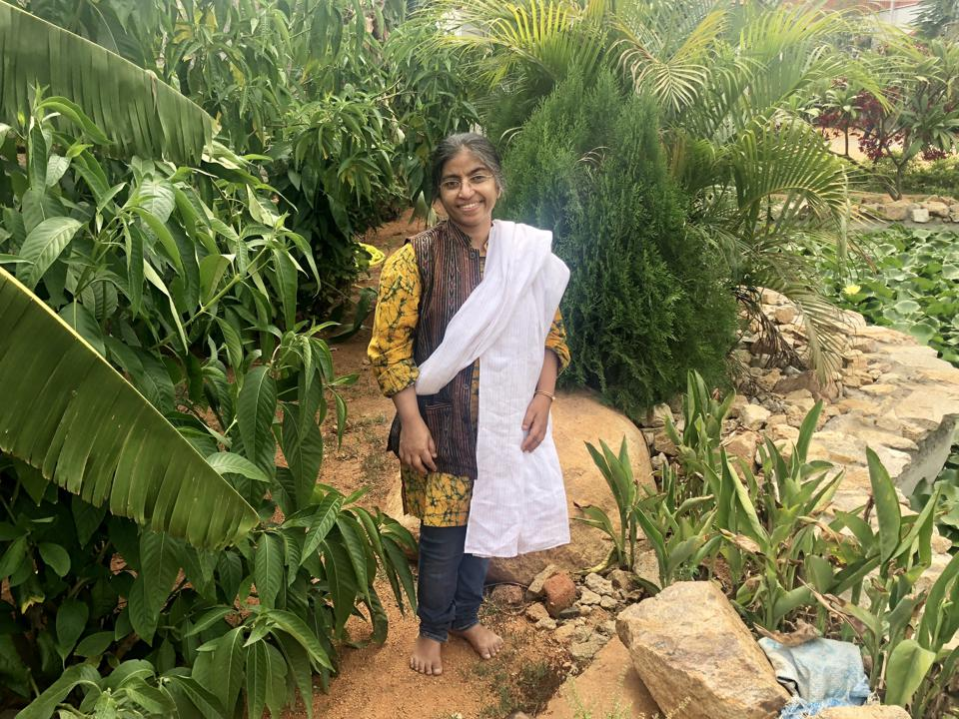 Sunitha Krishnan on the grounds of Prajwala in Hyderabad, India