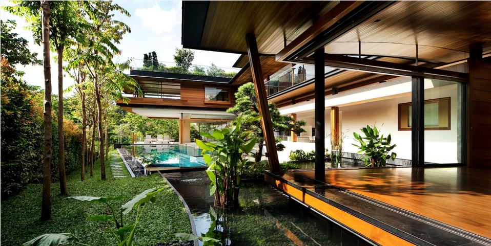 The large bungalow boasts of ″commanding views″ over the Singapore Botanic Gardens.