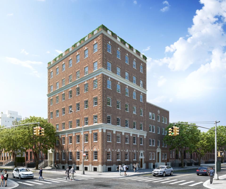 A brick building.
