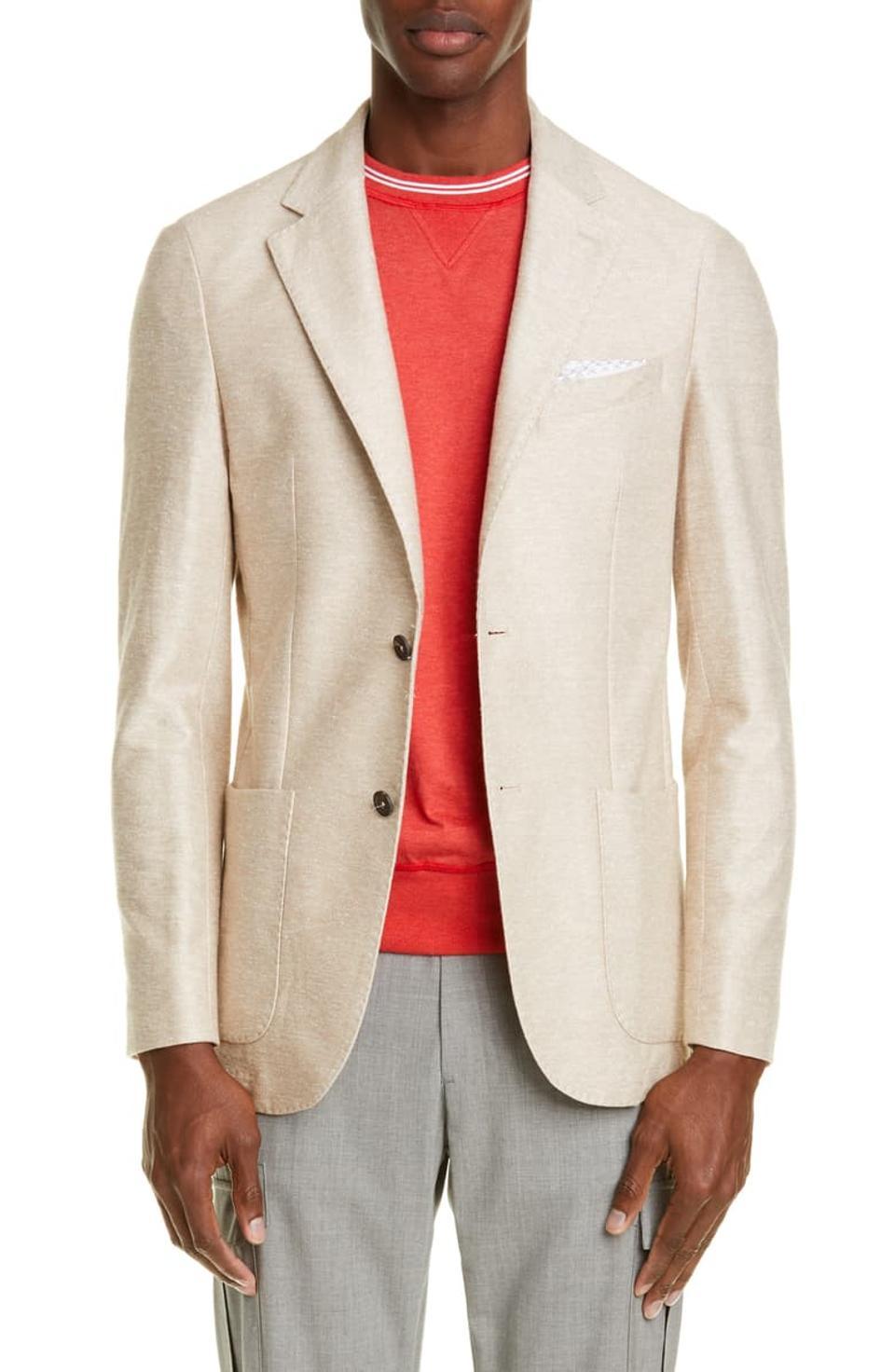 Eleventy Trim Fit Solid Linen & Cotton Sport Coat