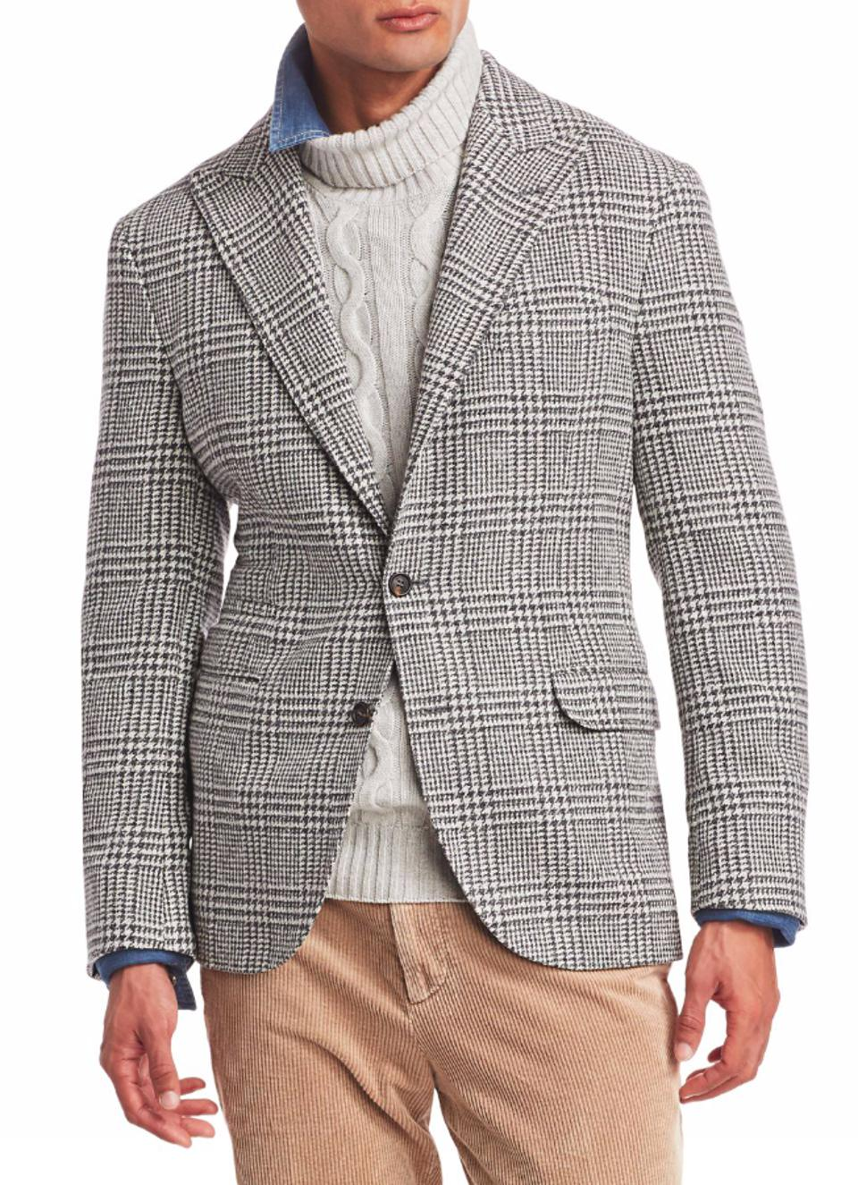 Brunello Cucinelli Houndstooth Checker Wool Jacket
