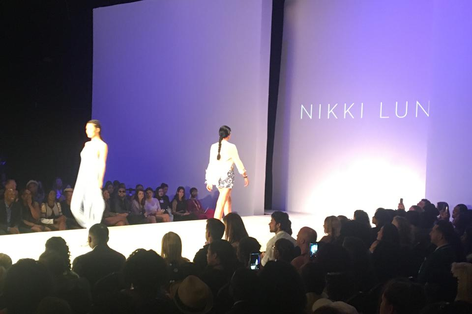 Models on the catwalk at Nikki Lund show.