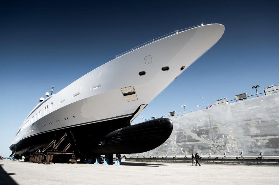 The 350-foot-long Benetti in this exclusive photo.