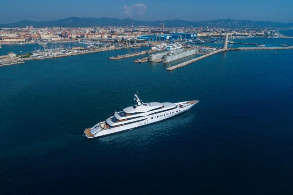 The massive, 350-foot-long Benetti FB275 after its launch in Italy.