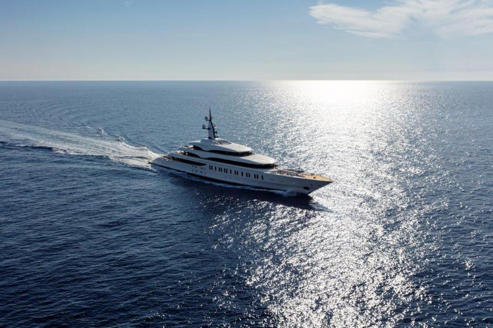 Exclusive photos of Benetti's 350-foot long superyacht underway.