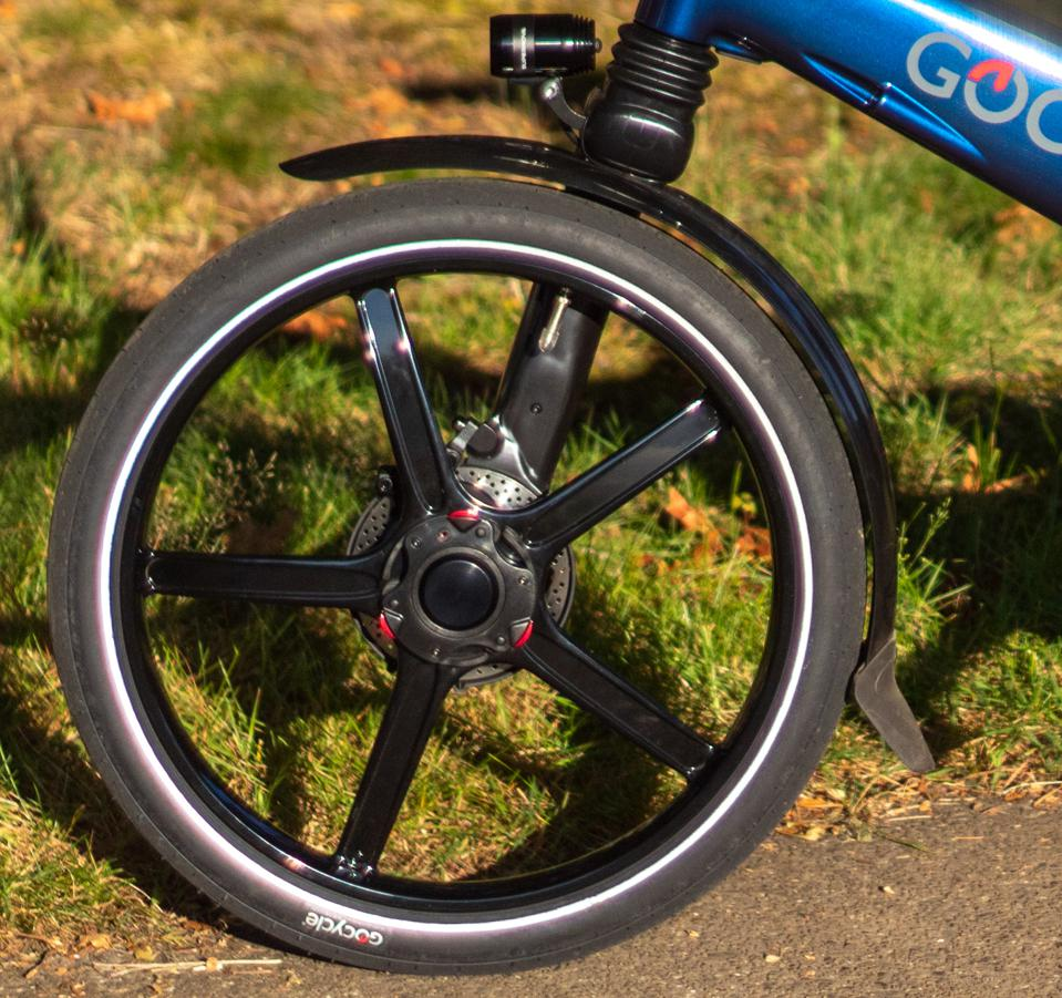 The GoCycle wheels are lightweight, strong and, yes, interchangeable.