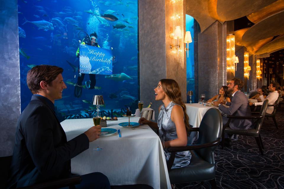 Seafood restaurant in Dubai situated in an aquarium.