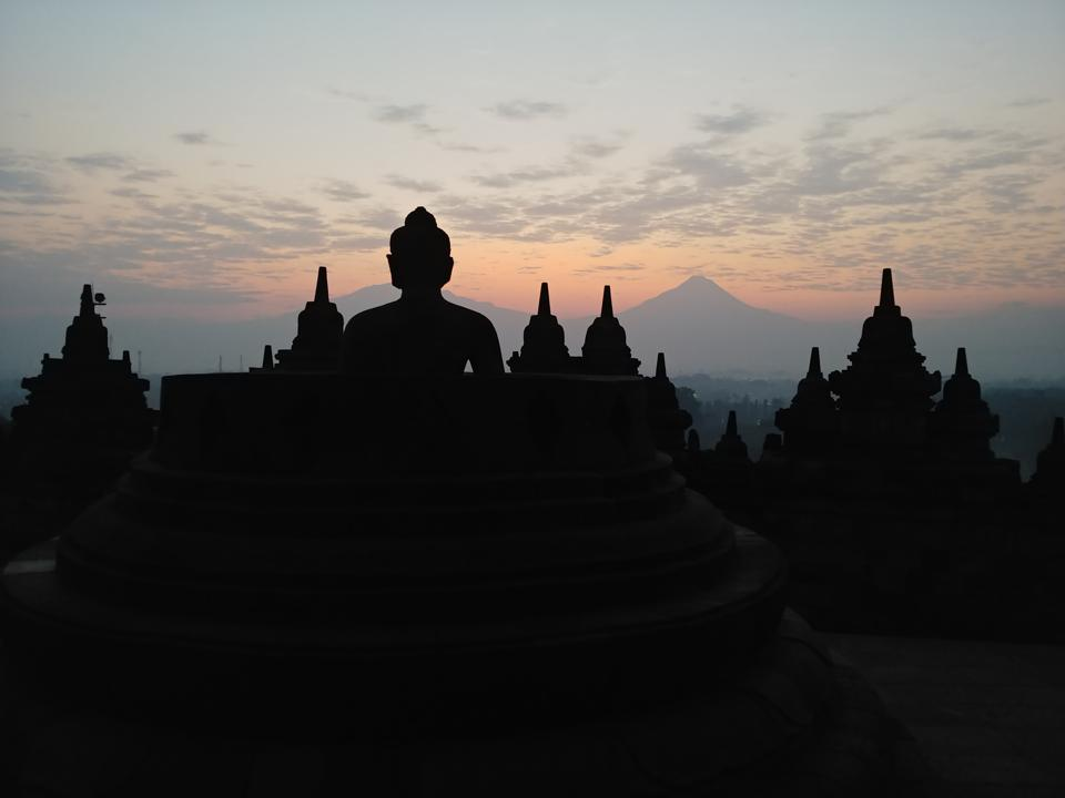 Buddha during Sunrise in Borobudur