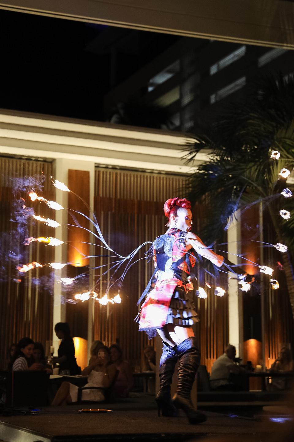 A fire dancer at the Setai Miami Beach Asian Night Bazaar