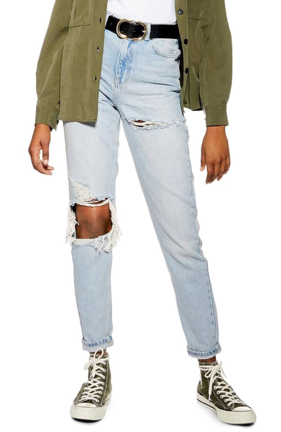 Topshop High-Waist Ripped Mom Jeans
