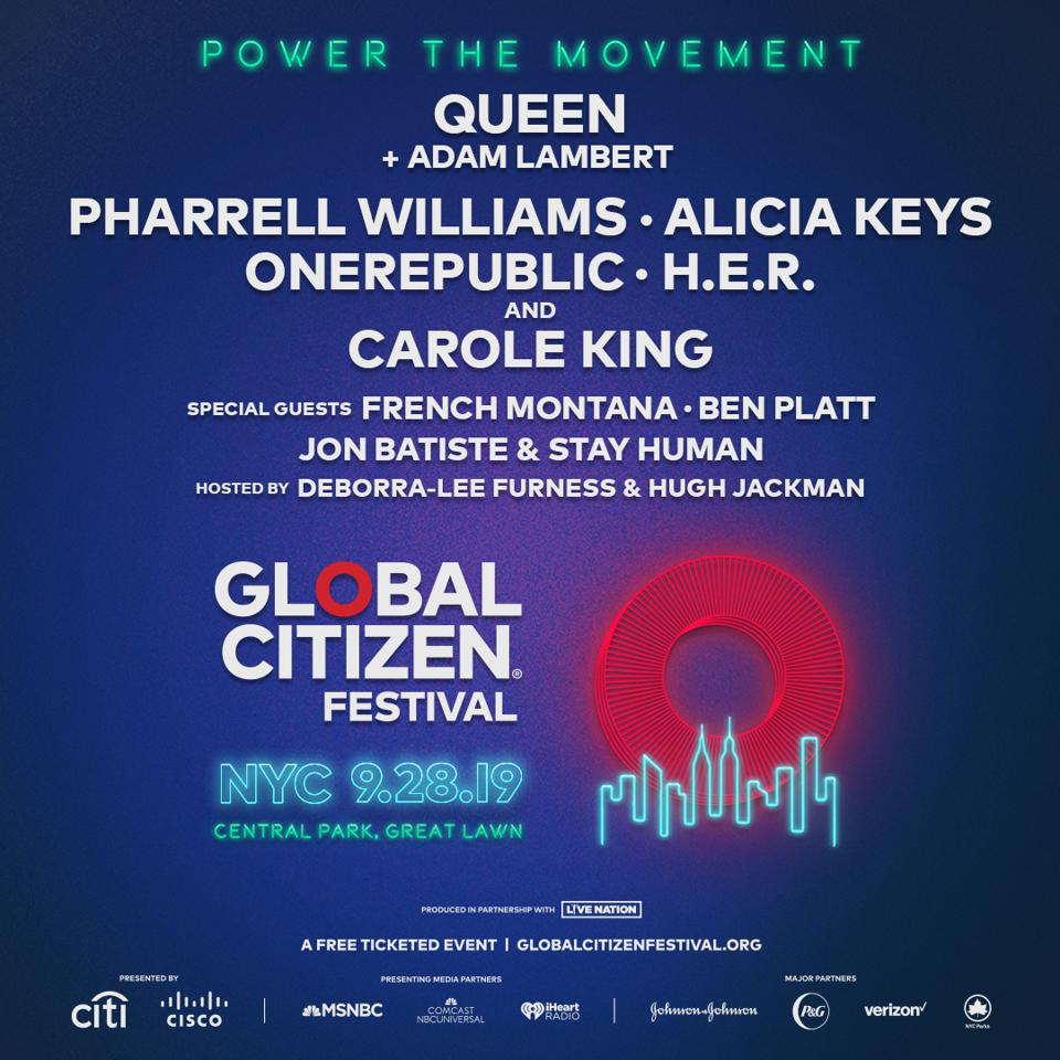 Global Citizen Festival Nyc 2020 Queen + Adam Lambert, Pharrell Williams, Alicia Keys And More To