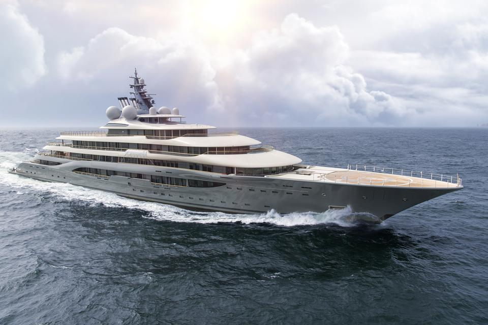 Here are the first photos of Flying Fox, the nrand new 450-foot-long superyacht.