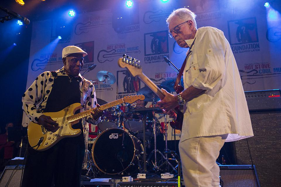 (Left to right) Buddy Guy and Peter Gammons perform together on stage at Metro during the annual Hot Stove Cool Music benefit concert. Friday, June 8, 2019 in Chicago.