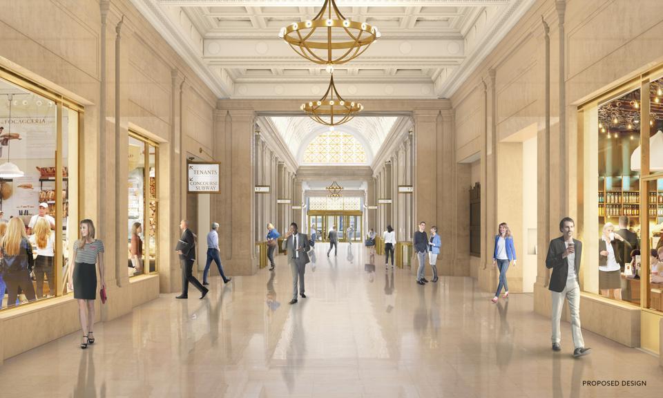 The lobby arcade.