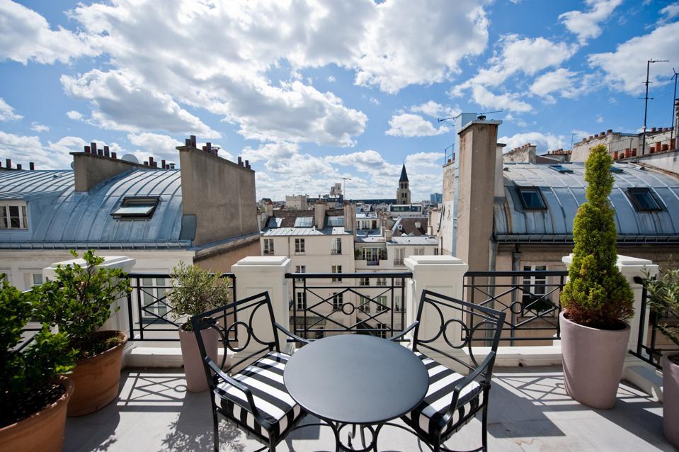 A rooftop terrace at Hotel L'Hotel.