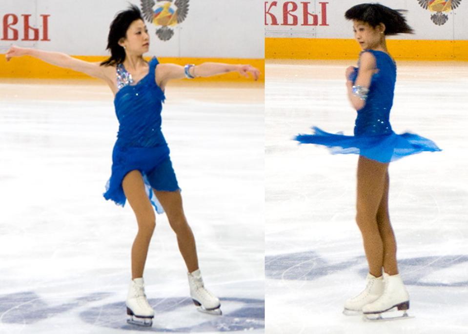 Figure skater Yuko Kawaguti illustrates conservation of angular momentum.