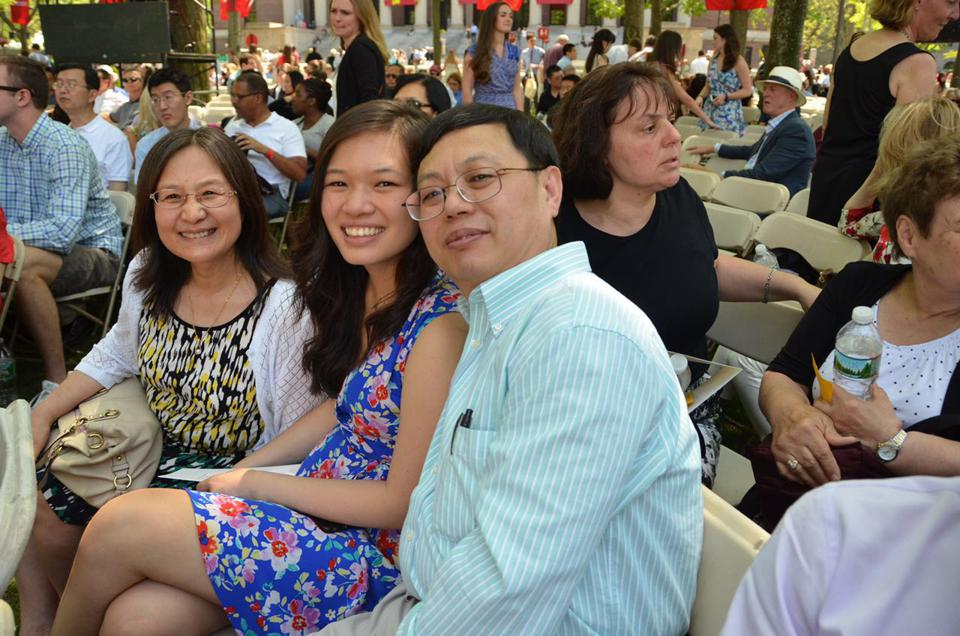 Lisa Wang and her parents at Harvard graduation