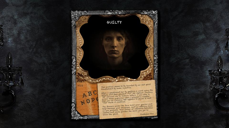 The Black Widow screenshot, showing Collins' portraits, the ouija board interface, and some directions.