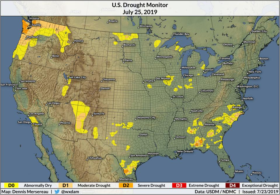 A map of the United States Drought Monitor on July 23, 2019.