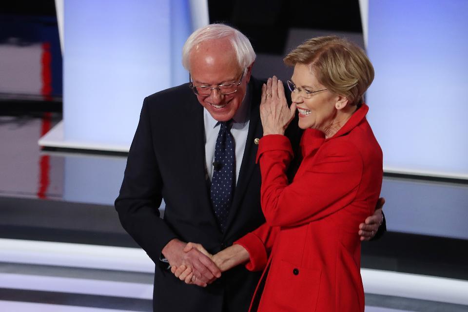 Democratic presidential candidates Bernie Sanders and Elizabeth Warren at Detroit's debate