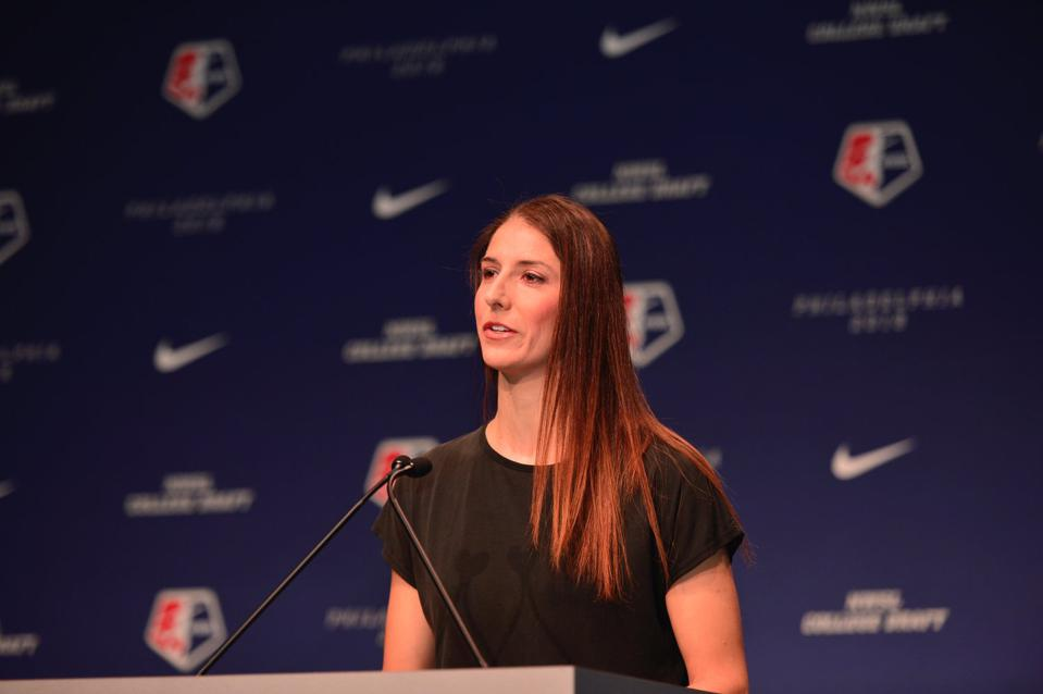 Yael Averbuch West speaking at NWSL College Draft.
