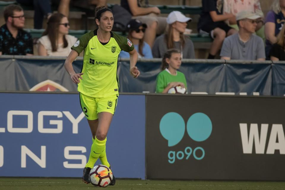 Yael Averbuch West competing with Reign FC of the NWSL.