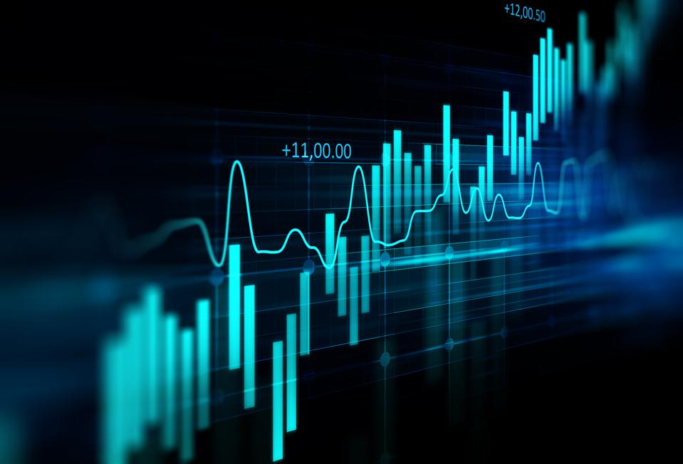 financial graph on technology abstract background