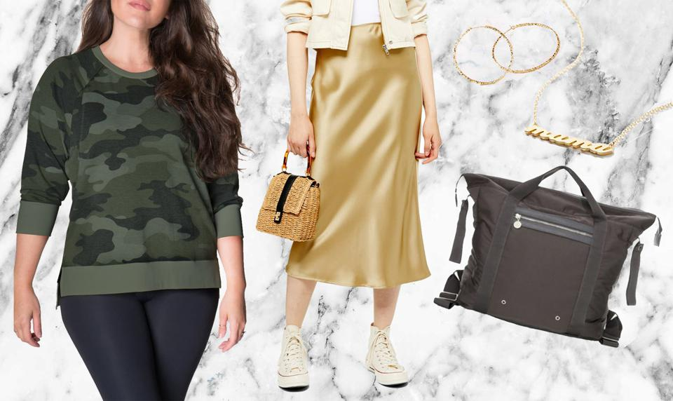 Look 3: Bun Maternity Camo Crewneck Nursing Pullover $59; NYDJ Stretch Knit Straight Leg Trousers $78.90; Susanna Hoop Earrings $48; Family Matters Necklace $148; Stella McCartney Kids Diaper Bag Backpack $415