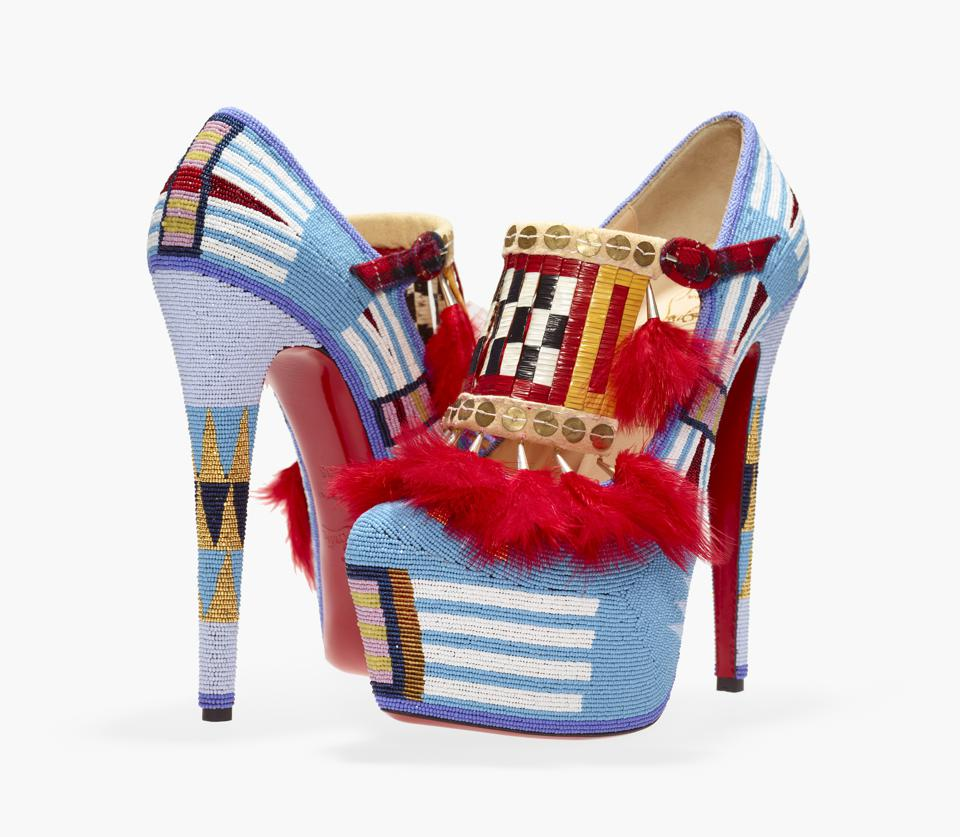 Jamie Okuma (Luiseno/Shoshone-Bannock), 'Adaption II,' 2012. Shoes designed by Christian Louboutin. Leather, glass beads, porcupine quills, sterling silver cones, brass sequins, chicken feathers, cloth, deer rawhide, buckskin.