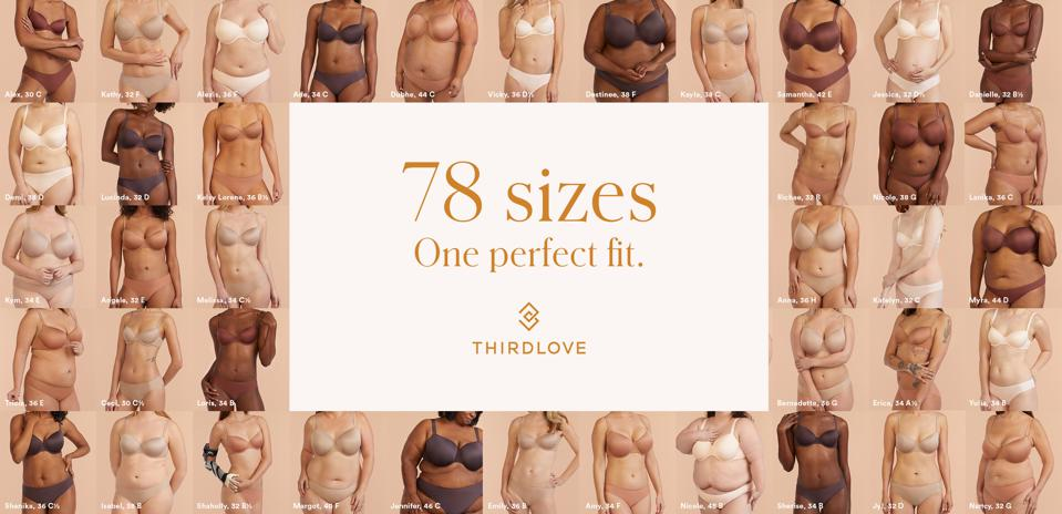 ThirdLove's ″78 sizes, one perfect fit″ campaign - Feb., 2019