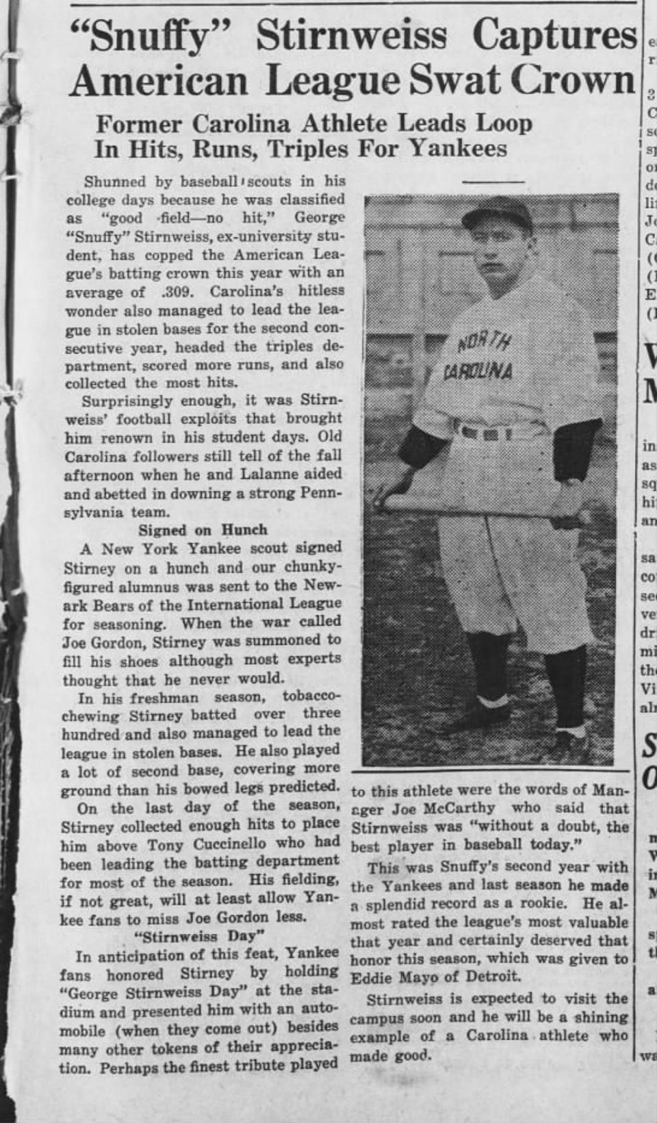 Clipping from The Daily Tar Heel from October 6, 1945