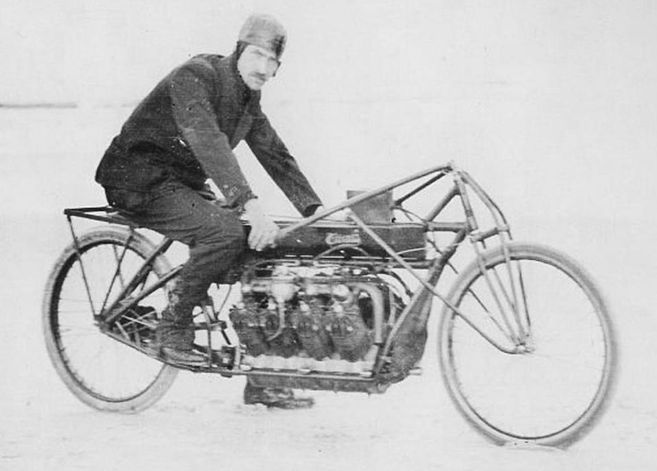 Glenn Curtiss aboard his V8-powered land speed record holder in 1907.